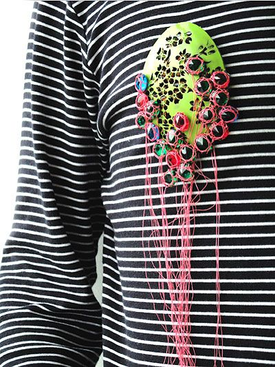 Lisa Juen - Brooch: Long Time No Green 2009 Steel, nail varnish, rost, glass, polyester, stainless steel pin