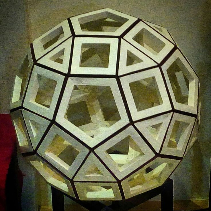"""FROM PAPER TO WOOD  Polyhedron # 15 - RHOMBICOSIDODECAHEDRON  Designed by Leo R. Natividad for  Lights & Folds Handicraft Fabricated by Allan Aguinaldo  Using 3/4""""×3/4""""×4.5"""" Softwood 20 Triangles 30 Squares 12 Pentagons 62 Surfaces  60 Apexes  120 Edges  Circumference - 66""""(167.64 cm) Diameter - 21"""" (53.34 cm)  Price - Php 7,148.25  #from_paper_to_wood #only_in_the_world #origamipilipinas #lights_and_folds_handicraft #only_in_the_Philippines #origami_inspired_wooden_polyhedron"""