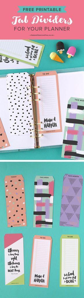 17 Best ideas about Printable Tabs on Pinterest   Filofax ...