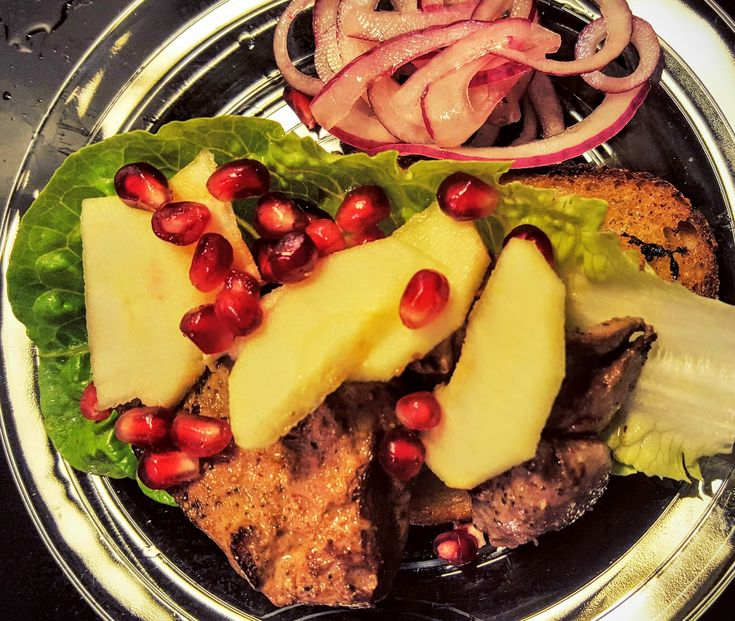 A simple recipe with a short ingredient list for pan-fried duck livers (or chicken livers) in butter with pickled onions, apple and pomegranate.
