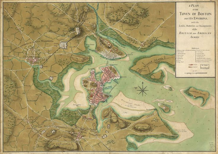 1776 map of Boston and surrounding areas during the Siege of Boston