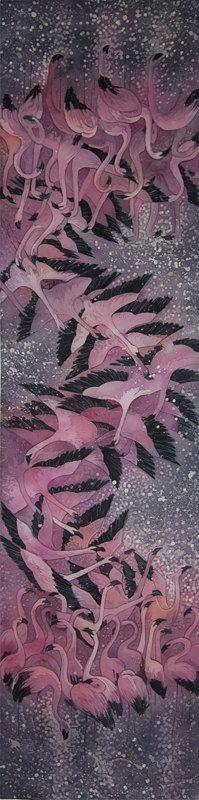 Flamingos - hand-painted silk scarf