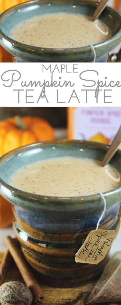 Maple Pumpkin Spice Tea Latte: wrap your hands around this warm, comforting mug in the cooler months. Rich, creamy, and sweetened with pure maple syrup.