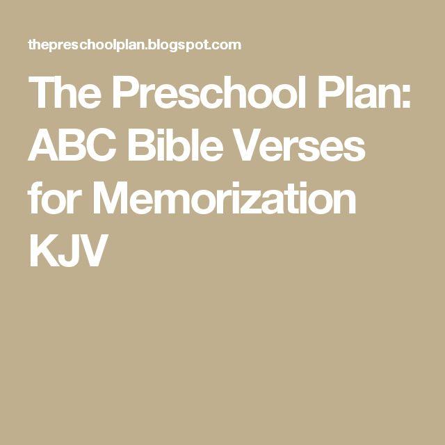 The Preschool Plan: ABC Bible Verses for Memorization KJV