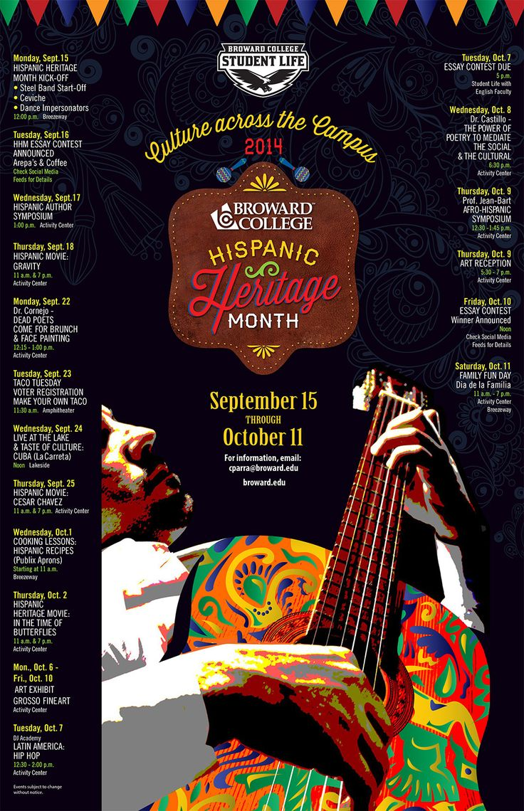 essays about hispanic heritage month Hispanic heritage month when europeans first came to the americas more than five hundred years ago, there were 60 to 75 million indigenous peoples already inhabiting what we now call latin america.