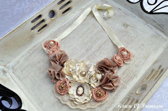 Fabric flower necklace bib style dusty rose by HouseOfPrimrose