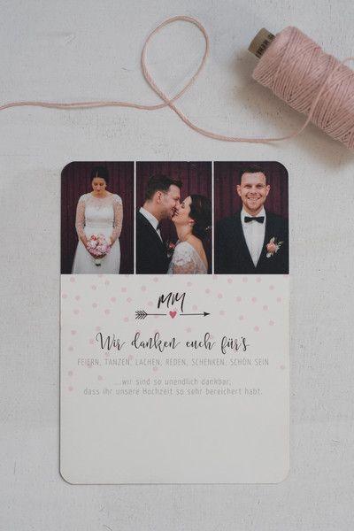 """Passende Dankeskarte in Rosa-Tönen zu unserer neuen Papeterie-Serie """"Blush Dots""""  Die fröhliche Bildercollage zusammen mit einem hochwertigen Offsetdruck auf cremefarbenem Naturpapier sind diese..."""