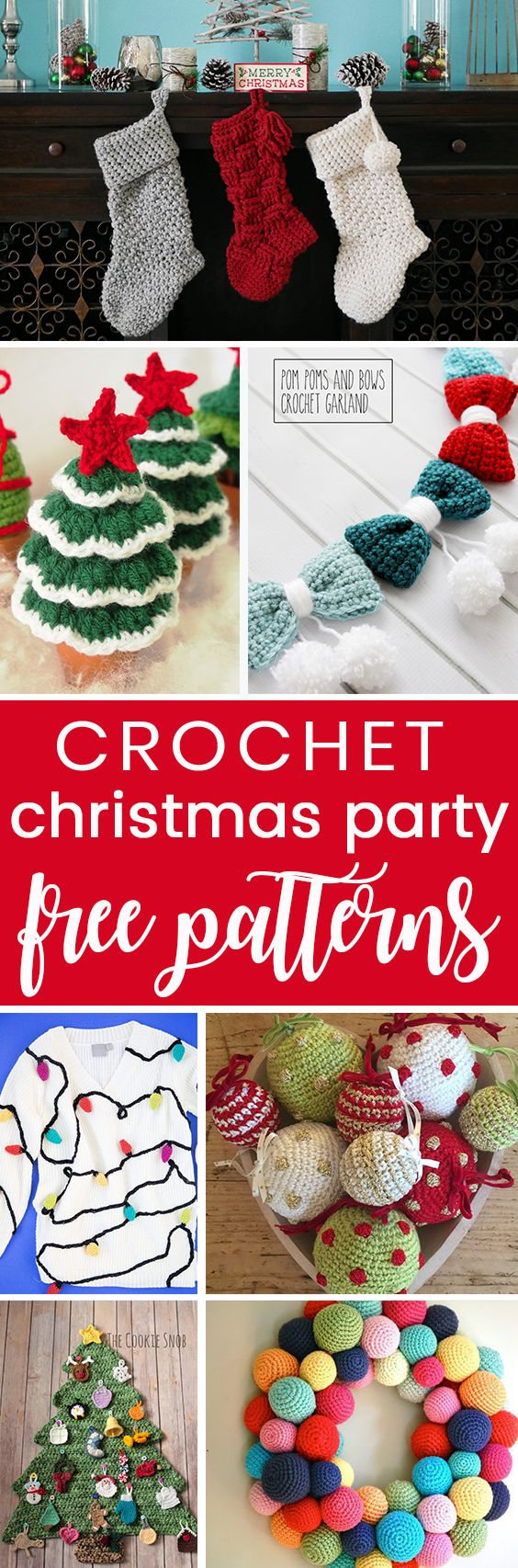 Crochet these easy free christmas holiday patterns for your next party! Home decor, wearables, and the perfect crochet tacky christmas sweater!
