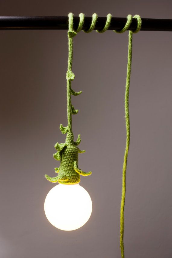 Crocheted Lamp with small green leaves by Lampapam on Etsy, €42.00