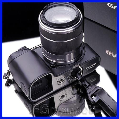 GARIZ Leather SONY NEX-7 Half Case + Gun-Shot Strap Set For SONY NEX-7 (Black)