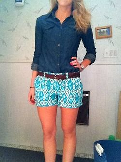 For hotter days - my shorts are red but always looking for ideas for denim shirt