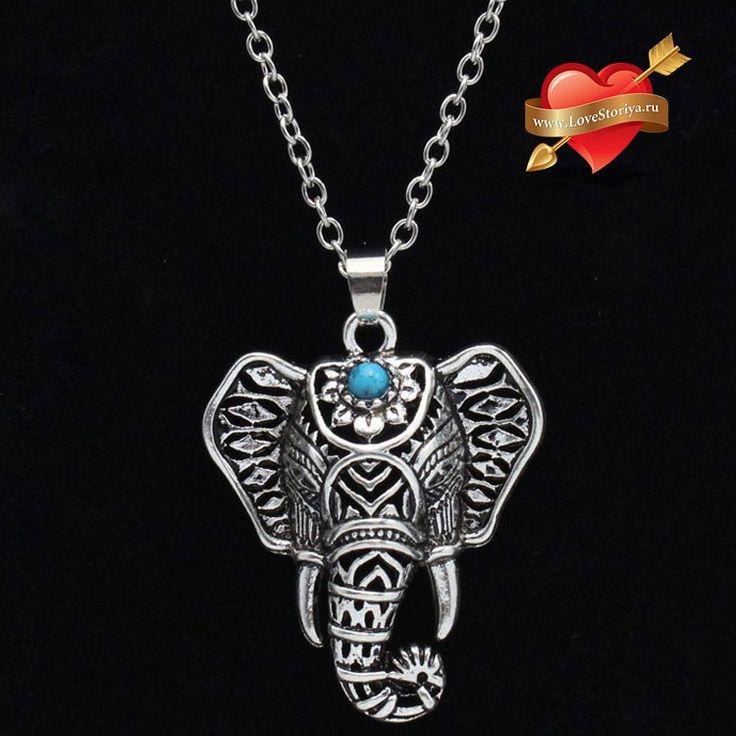 Подвеска на цепочке в стиле бохо со слоном