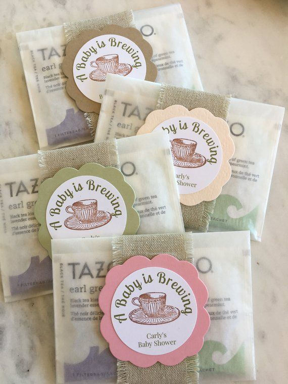 Peach 10 X Personalised Tea Bag Baby Shower Favours Pink Blue Green