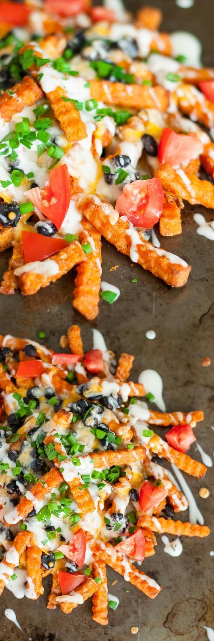 Whenever I have a lone bag of french fries in my freezer, or a sweet potato just begging to become snack food, I bake them up and make Loaded Mexican Sweet Potato Cheese Fries. Like nachos; only better!