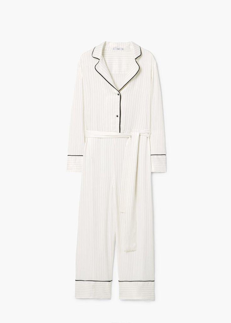 Pajama style striped jumpsuit | MANGO