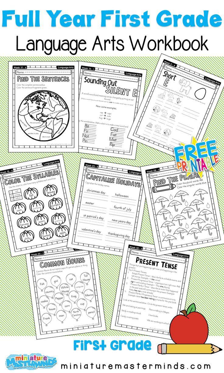 First Grade Language Arts Full Year Work Book In 2020 First Grade Curriculum Homeschooling First Grade First Grade Lessons