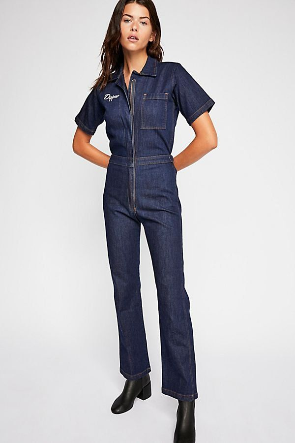 8a28681ebcf Little Dipper Coverall - Denim Short Sleeve Jumpsuit with Star Embroidery