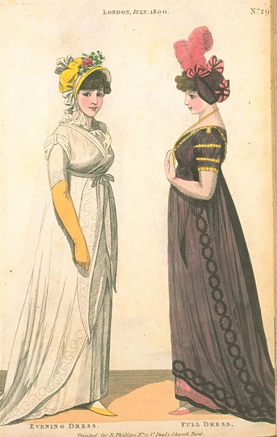 Evening Dress and Full Dress, July 1800, Fashions of London & Paris