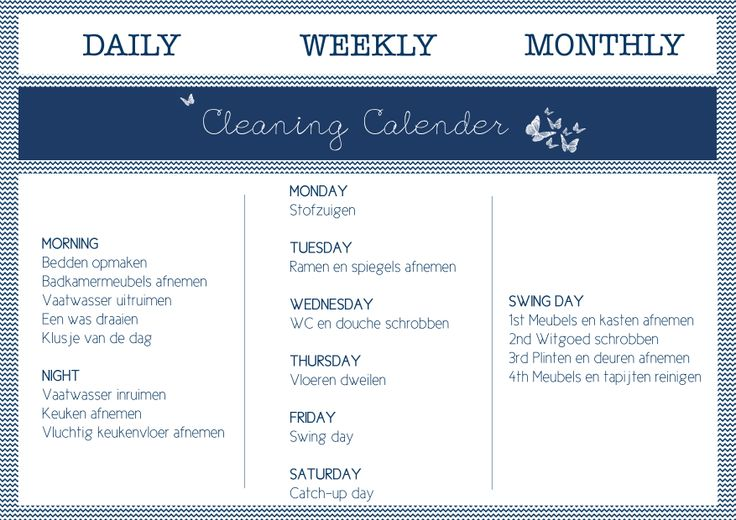 Take two ! Cleaning Calender #dutch Schoonmaakrooster