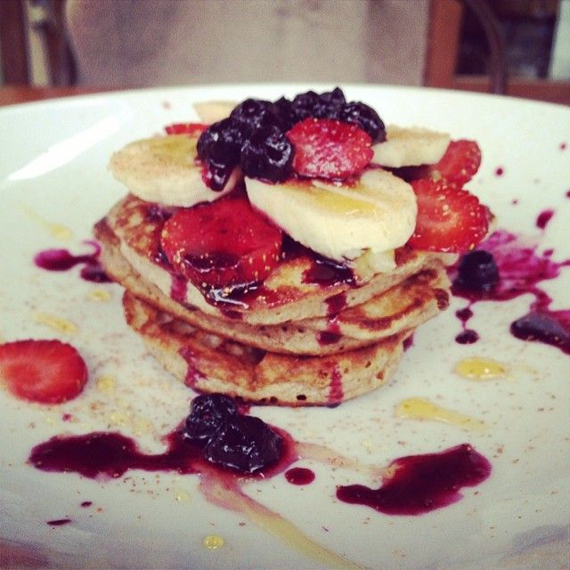 Buckwheat pancakes have been added to the menu! Served with date butter, banana and berries.