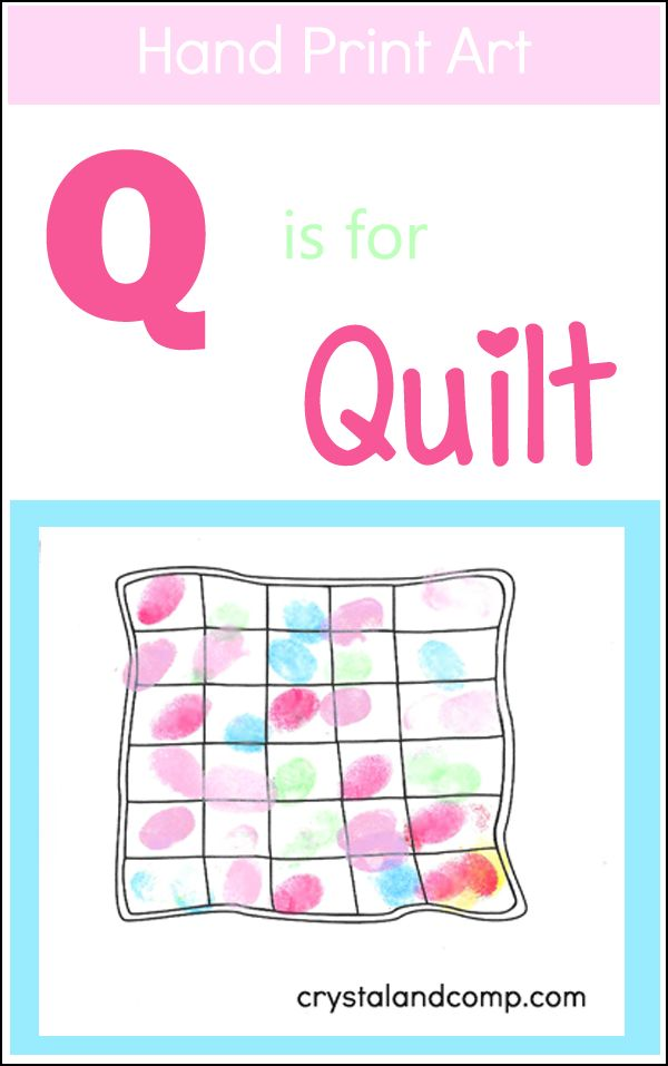 Today's handprint art for the alphabet is actually a fingerprint and thumbprint craft. The letter theme we are sharing today is Q is for Quilt. Originally I was going to have my preschoolers use ha...