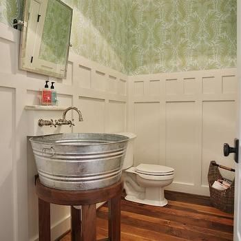 Galvanized Tub Sink, Cottage, bathroom, Sherwin Williams Pearly White, Stacye Love - interesting sink?