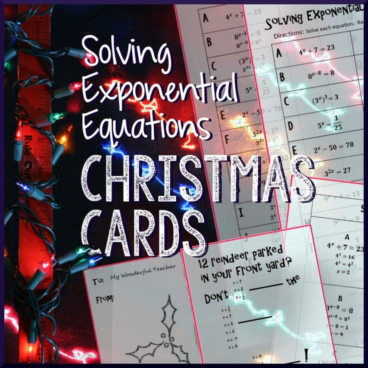 Christmas algebra solve exponential equations algebra
