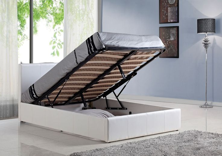 5ft White Faux Leather Ottoman Bed Frame - £349.95 - Features good quality sprung slats in 2 rows. Soft touch and realistic faux leather (not patterned cardboard type or PVC). Twin compressed gas lift system for easier lifting. Loads of storage space.   Steel centre support with twin support legs for strength. Assembly with bolts rather than screws for added strength.