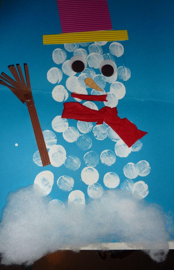 bonhomme de neige en points de peinture
