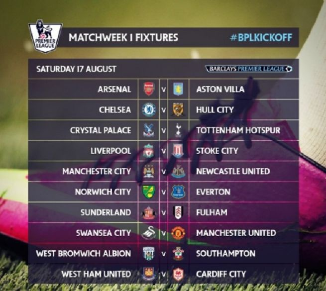 England Premier League Schedule 2013-2014, Villa had to come to the headquarters Arsenal, Liverpool travel to Stoke City, Swansea City host Manchester United.