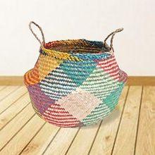 Palha Rattan Vaso de Flor Plantador Cesta Cesto de roupa suja Organizador Casa DIY Decoração Vaso Presentes Plantas Potes Berçário Decor(China (Mainland))