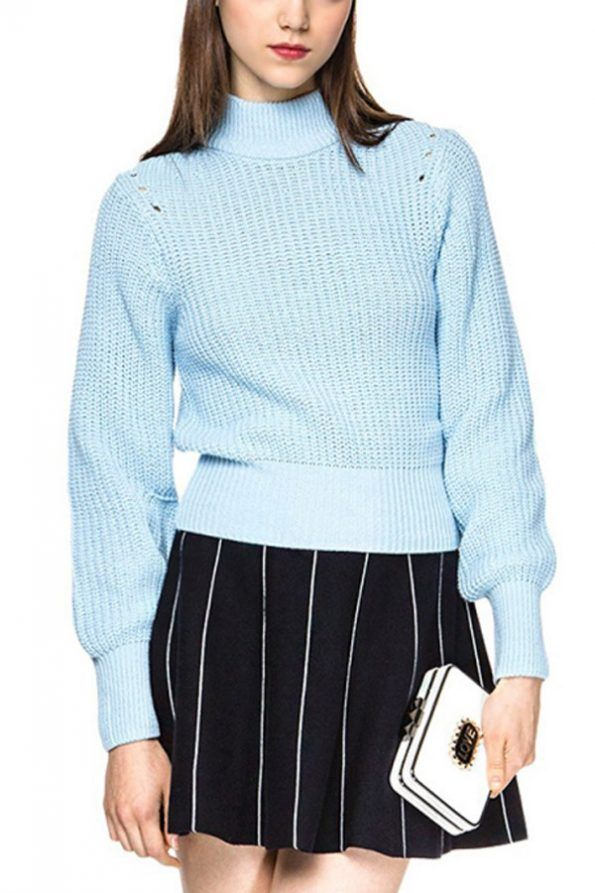 Light Blue Mock Neck Puff Sleeve Casual Sweater | Psychedelic Monk