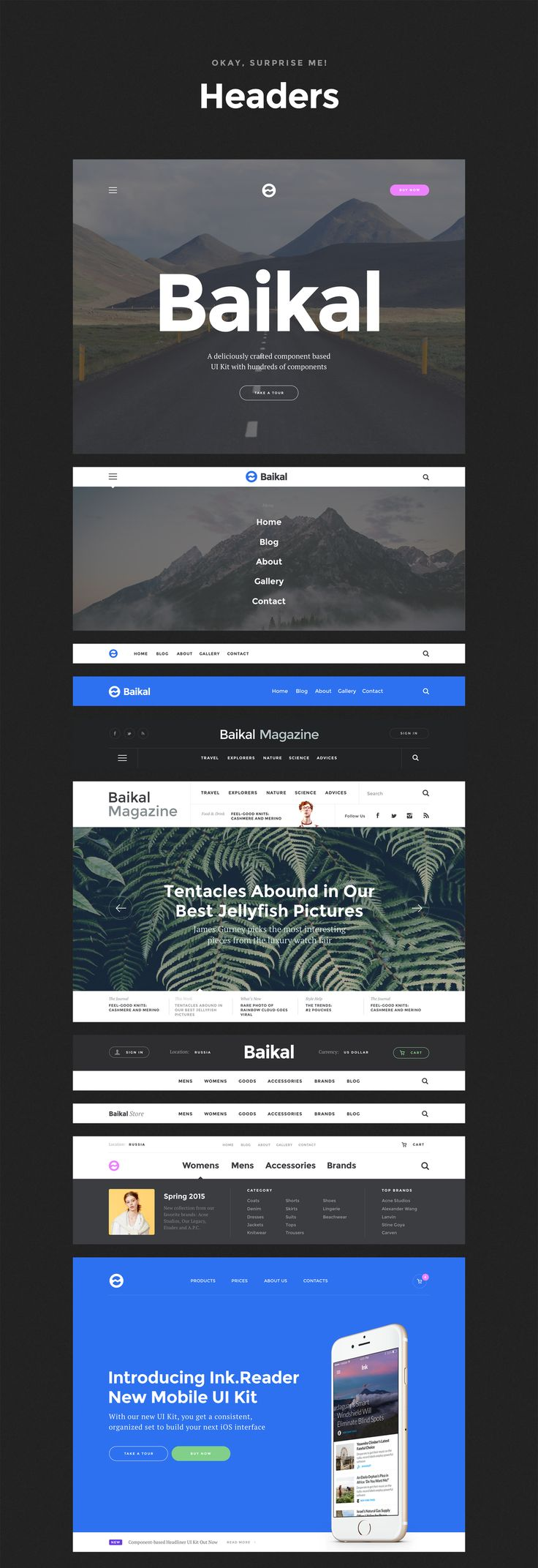 Baikal UI kit – headers