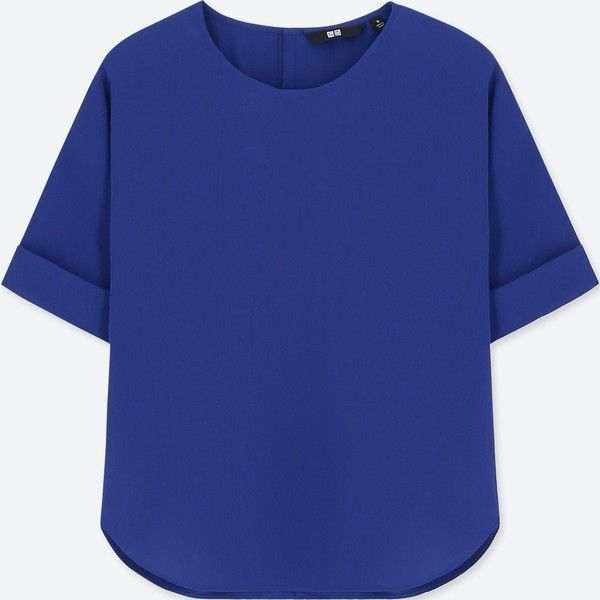 UNIQLO Women's Drape Short-sleeve T-Shirt Blouse ($20) ❤ liked on Polyvore featuring tops, blouses, blue, fancy blouse, uniqlo blouse, evening blouses, short sleeve blouse and dressy tops