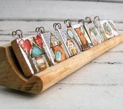 Scrabble tile pendants using mixed media technique