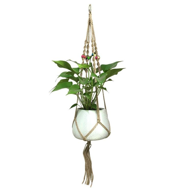 G2Plus - Soporte de macramé para planta, con 4 perchas, para maceta, colgante, con cuentas de madera, retro, cuerda de yute a mano, para planta araña, hiedra, interior y aire libre: Amazon.es: Jardín