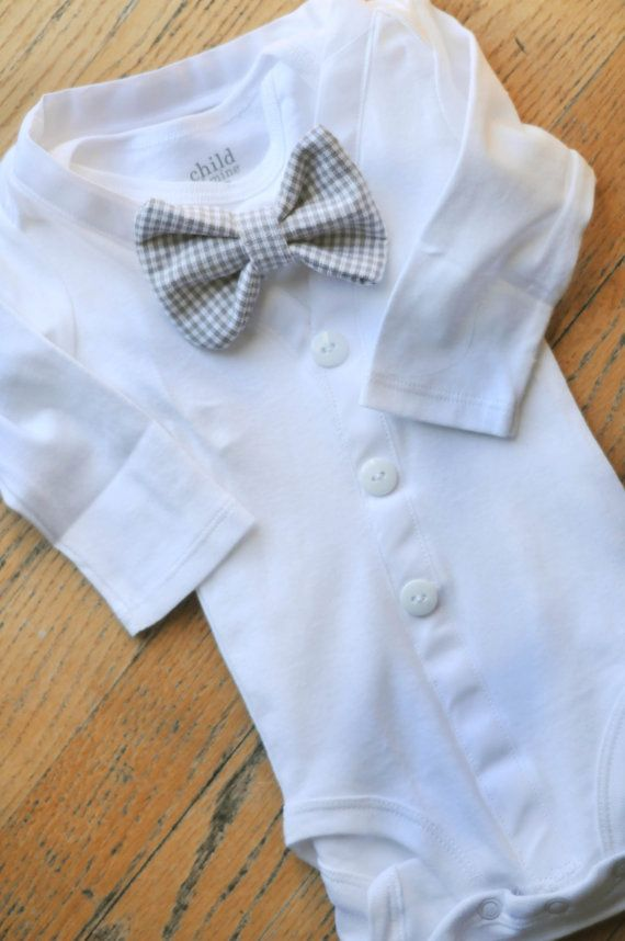 All White Cardigan baby boy bodysuit with grey checkered bowtie perfect for Christenings and baptism.Available long or short sleeve