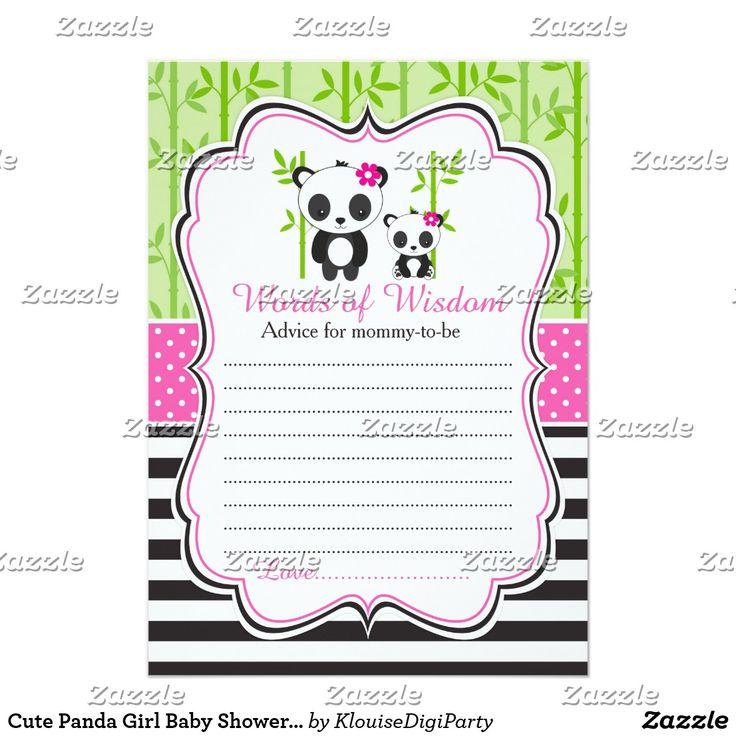 Cute Panda Girl Baby Shower Words of Wisdom Card