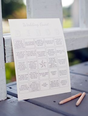 Fun ideas for a fun wedding.  http://www.apartmenttherapy.com/wedding-games-ice-breakers-kissmakers-and-more-wedding-inspiration-191110