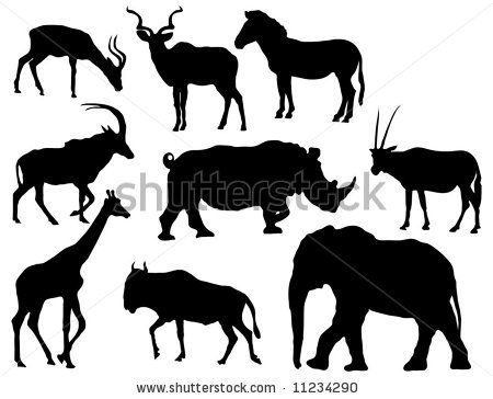 African animal silhouettes (Herbivores, elephant, giraffe, various antelope, rhinoceros and zebra) by Jennifer Gottschalk, via ShutterStock