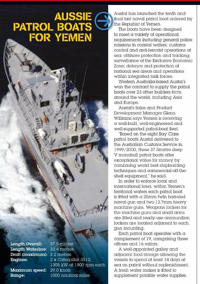 Yemen buys Aussie patrol boats. Published in issue #5, March 2005