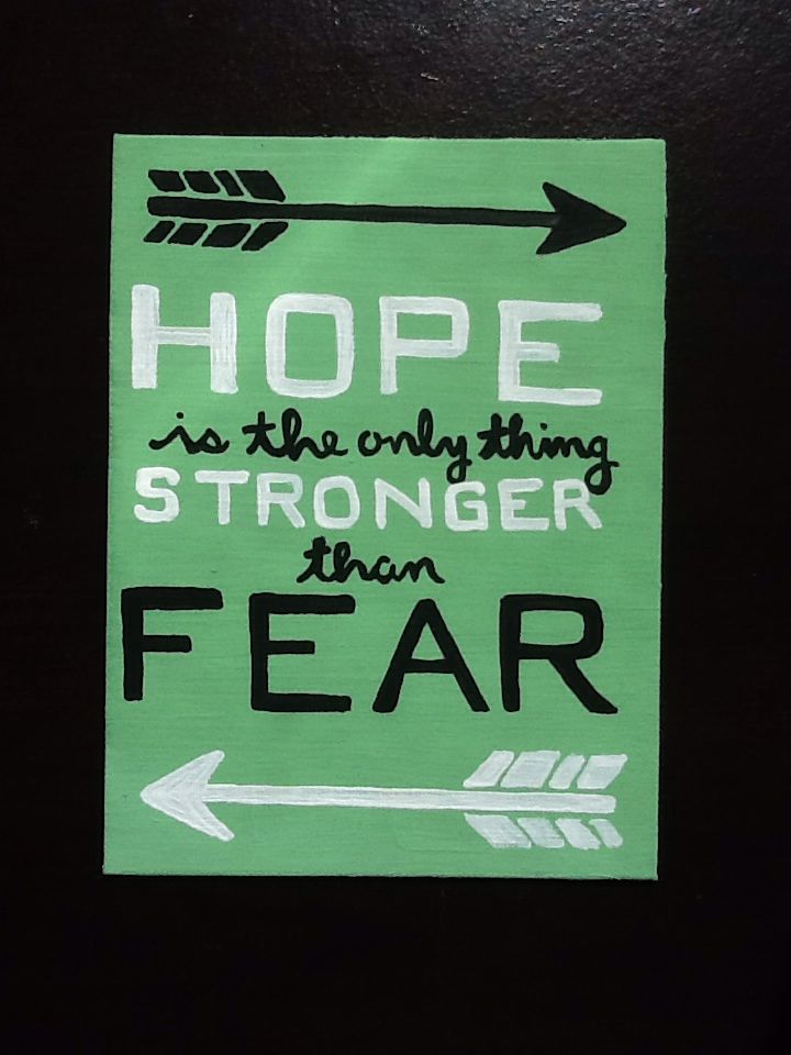 """Hunger Games Quote Canvas Art, """"Hope is the only thing stronger than fear"""""""