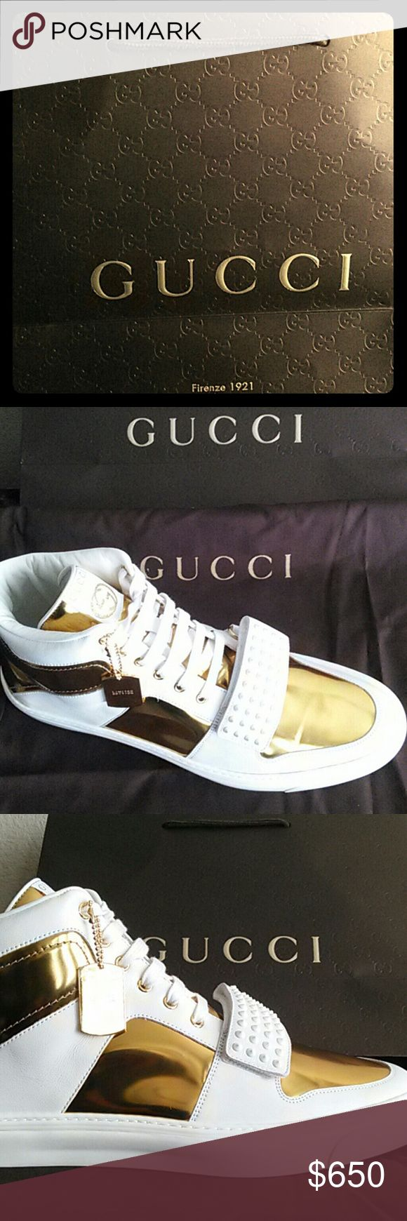 Limited Edition Gold High Top Sneakers by Gucci Authentic High Top Sneakers by Gucci with tags, box, wrapping and never worn. Worth over $800 I've found most are sold out online and in store. I'm looking for a shoe collector or sneaker lover. They run 2 sizes big so if you plan to wear them, you must where a 13/13.5. I chose the bigger shoe so it could be put in a cool display case. Gucci Shoes Sneakers