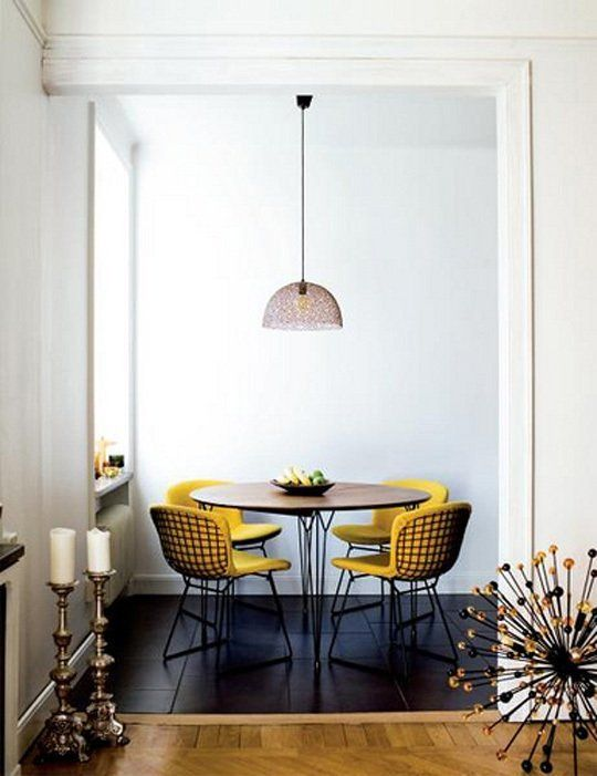 #modern #dining #room with #bertoia #chairs and #starburst #chandelier - #contemporary #yellow #interior #design #idea