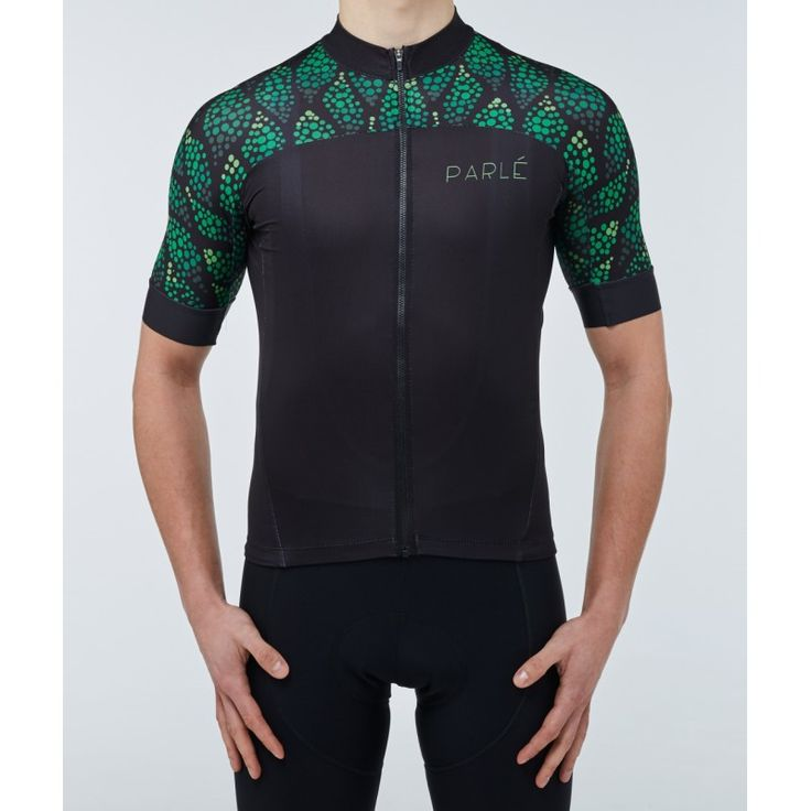 https://parle.cc/en/jerseys/25-dancing-grapes-jersey.html Parlé Cycling. Dancing Grapes Jersey. Classic black, split with minimalist graphics. Four types of materials provide functionality and convenience. Silicone trimming and adhering cut, to give a sense of fit without encumbering movement while cycling. A discreet zippered pocket is an additional advantage of the jersey.