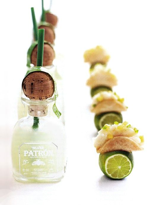 Mini patron bottle margaritas and tiny tacos! Adorable for cocktail hour. See Peter Callahan's Bite by Bite for more cute pairings