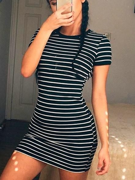 Casual Round Neckline Striped Bodycon Dress | victoriaswing