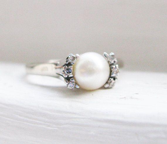 Vintage Elegant Pearl and Diamond 18K White by RosenrosettAntiques
