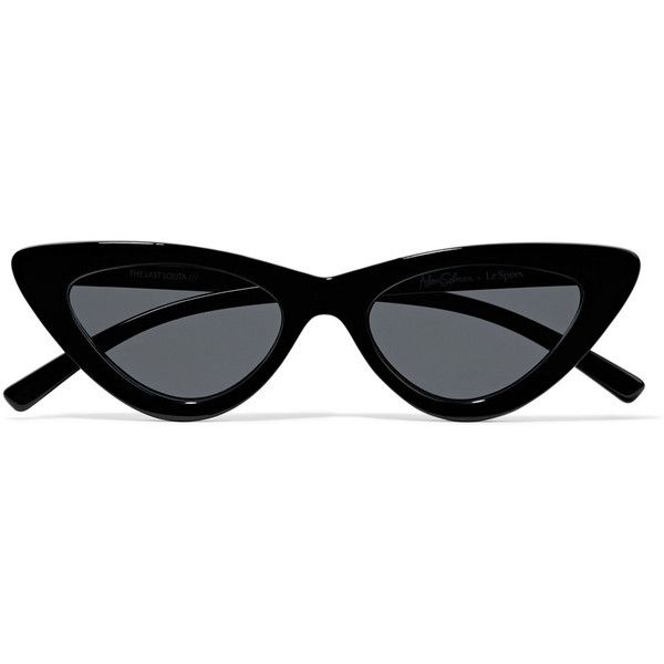 Le Specs + Adam Selman The Last Lolita cat-eye acetate sunglasses found on Polyvore featuring accessories, eyewear, sunglasses, glasses, shades, black, cat eye sunnies, cat eye glasses, le specs sunglasses and dot sunglasses