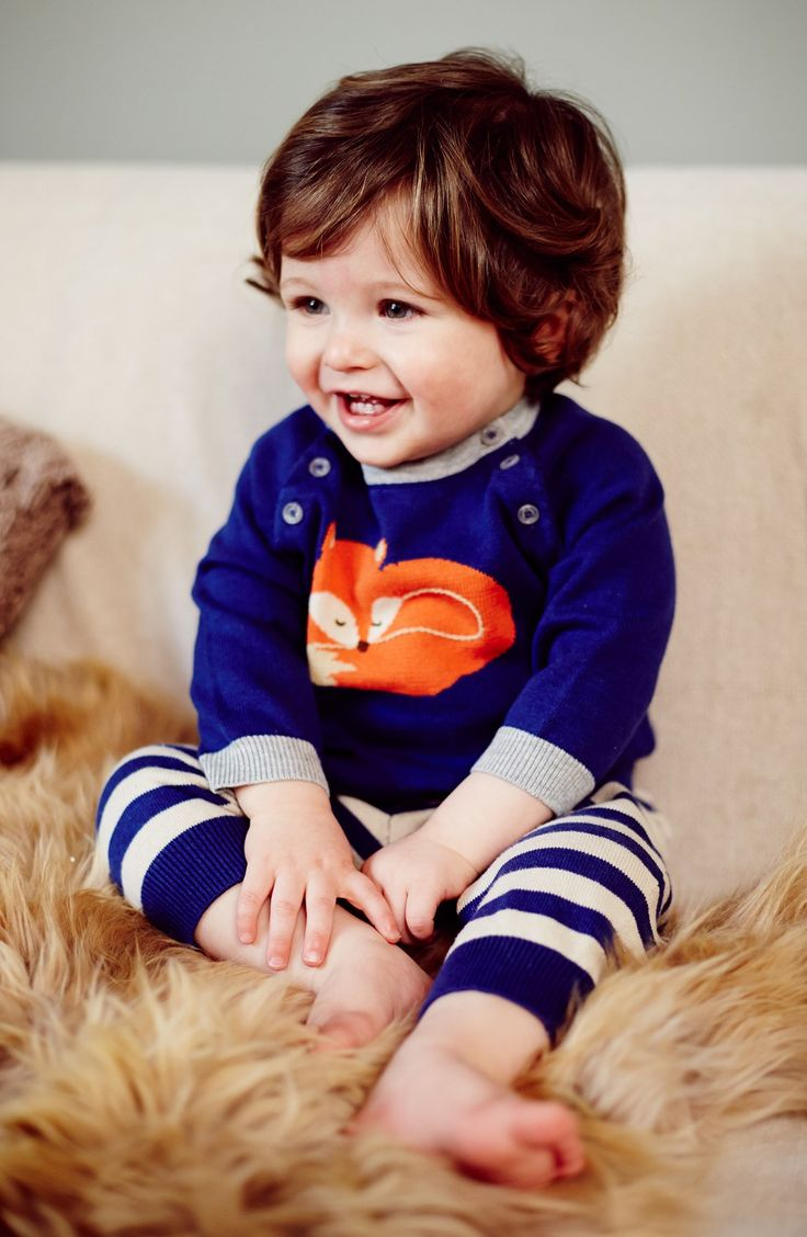 The sleeping fox print on this Mini Boden knit sweater and  pants set is adorable.